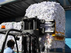 Shredded paper being sent for recycling